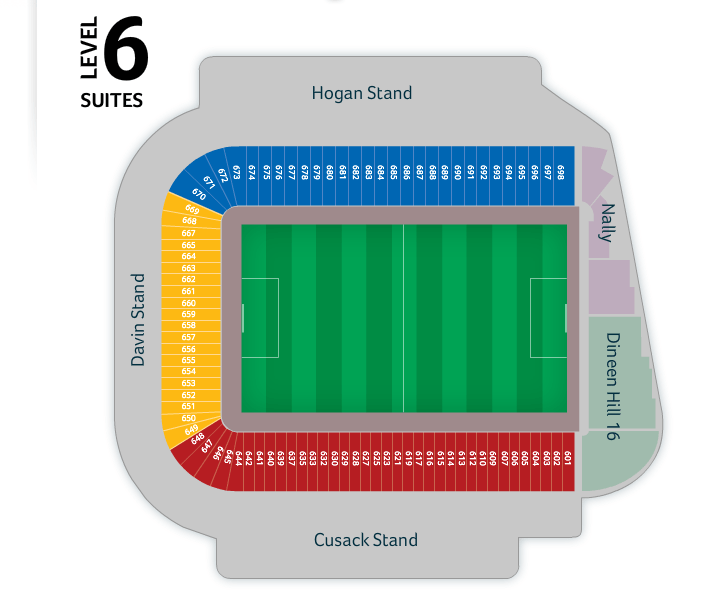 Croke Park seating plan Level 6.