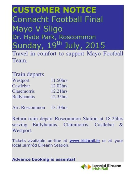 2015 Connacht final special train timetable