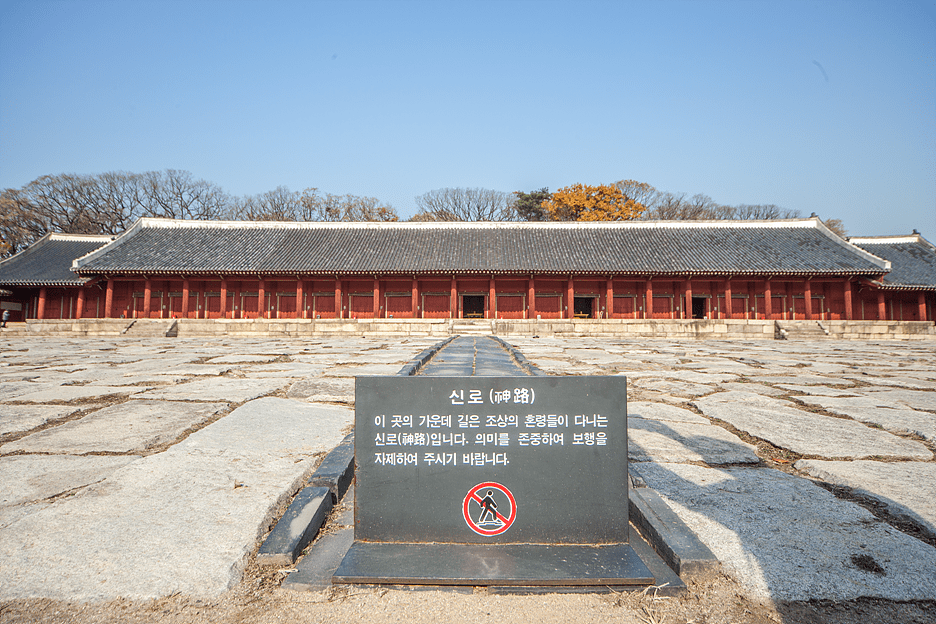 The Jeongjeon Hall(Main Hall) is in the middle 19 spaces(Sin-sil) and two narrow rooms on both side(Hyeop-sil)