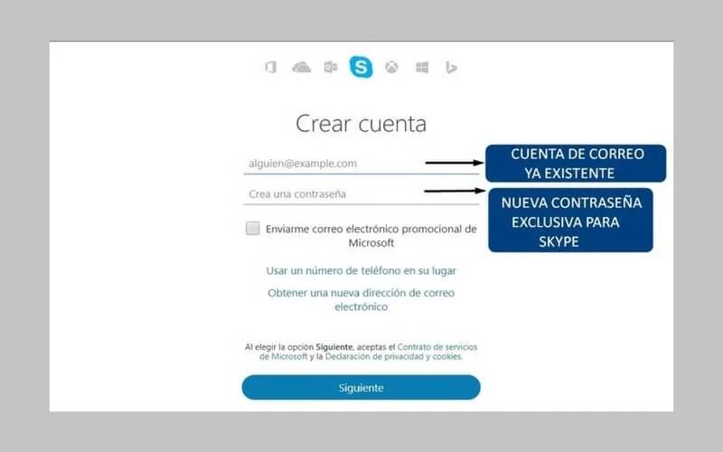 skype crear cuenta