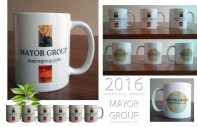 MAYOR GROUP Promotional Material, 2016 Coffee Mugs: 2 side print, ceramic / white