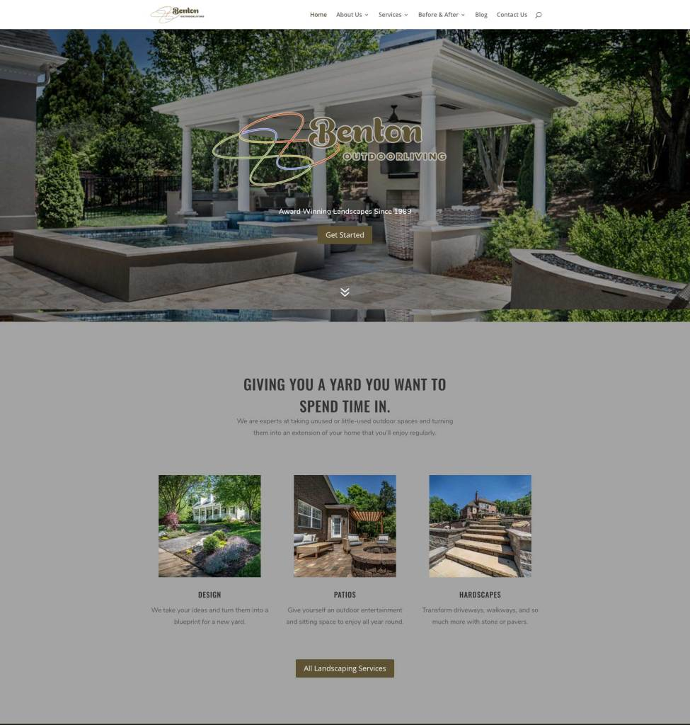 Benton Outdoor Living, Award-Winning Website Design by The Mayoros Agency in Fort Mill, Sc