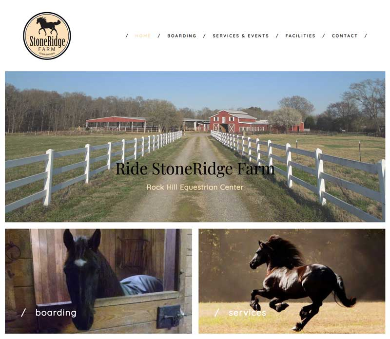 StoneRidge Farm Website designed by The Mayoros Agency in Fort Mill, SC