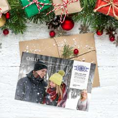 Smiles by Design winter chill postcard design by The Mayoros Agency