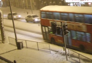 Heavy snow brought London's buses to a standstill