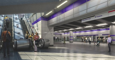 An illustration of Crossrail's Tottenham Court Road station.