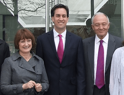 Dame Tessa with Labour leader Ed Miliband and former Mayor Ken Livingstone.