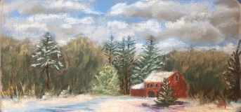 After the snow, 12 x 6 pastel, February 2017