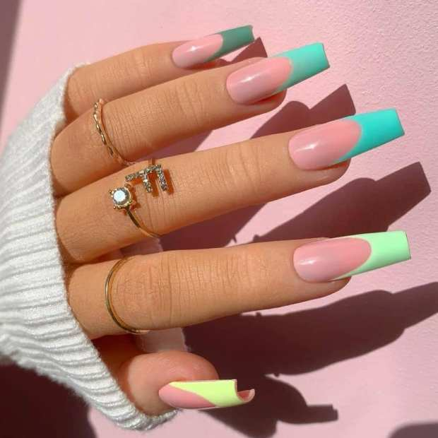 SHADES OF GREEN FRENCH TIPS summer nail designs for 2021