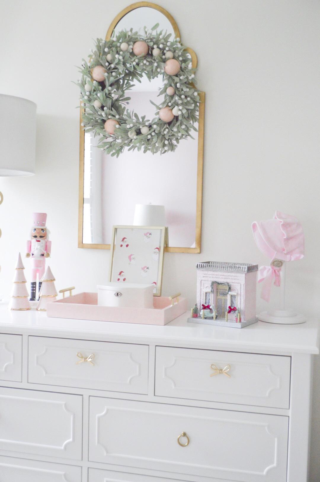 pink and white christmas decor