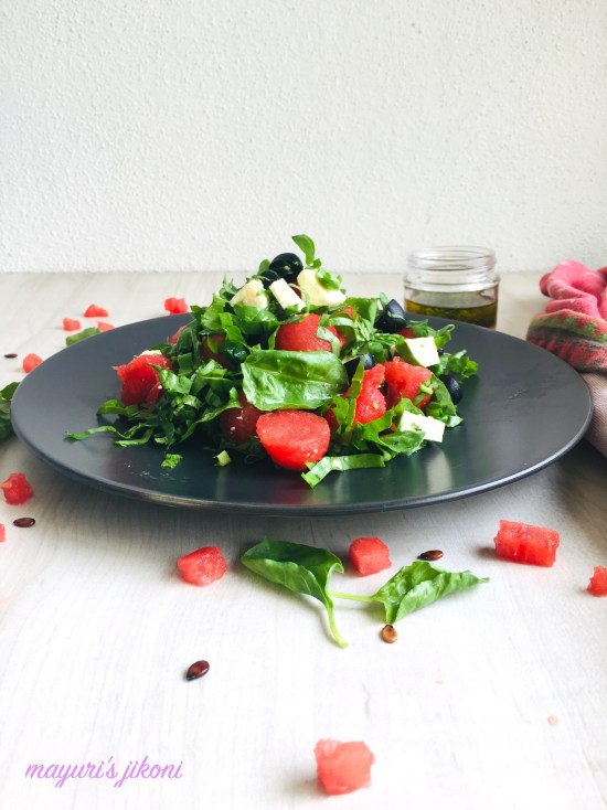 watermelon feta spinach salad 2
