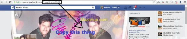 Copy the username in the facebook url