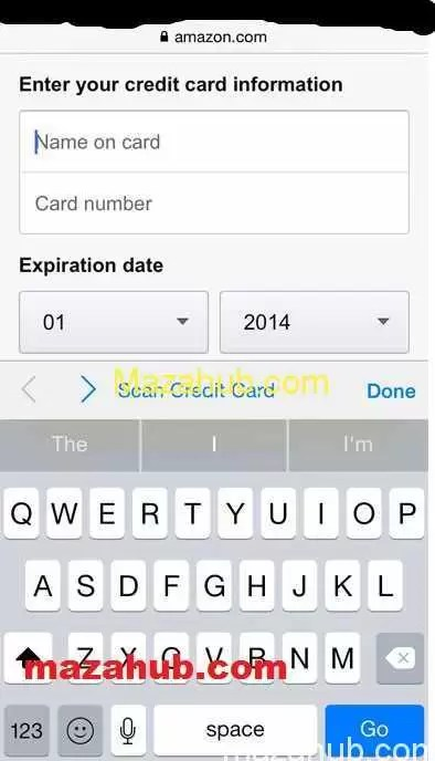 Credit card scan function