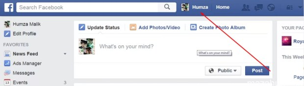 Facebook Stylish Status step 1