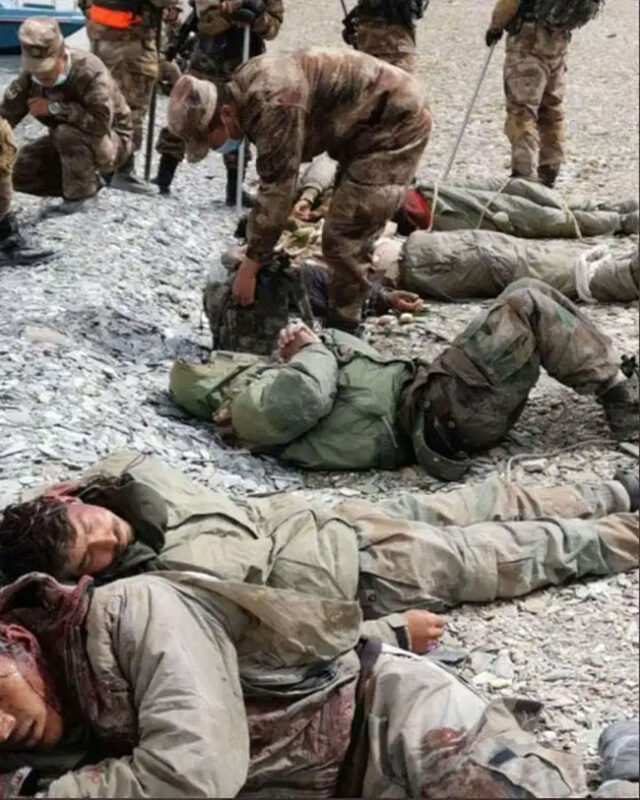 Unverified images allegedly showing a previous incident of Chinese soldiers attacking Indian troops