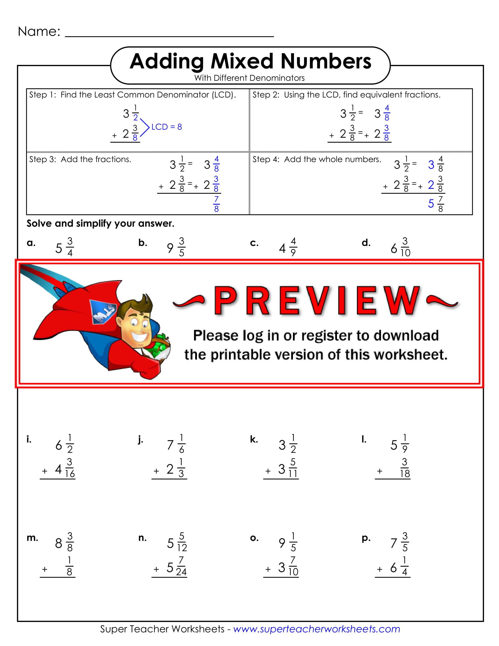 Subtracting Mixed Numbers Worksheet