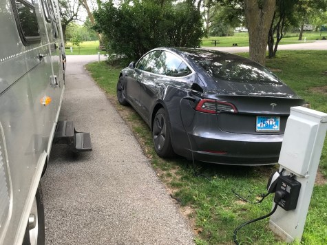 Airstream & Tesla plugged in