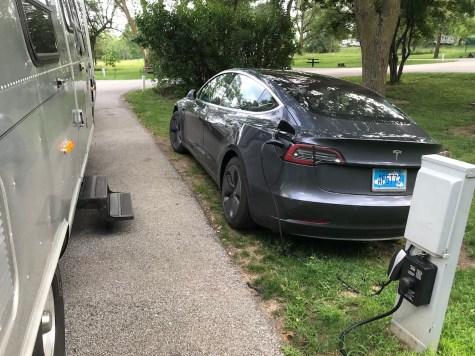 Airstream & Tesla plugged in