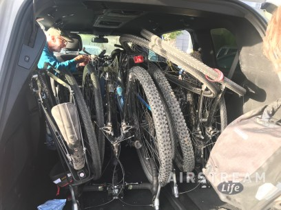 Bikes loaded in minivan