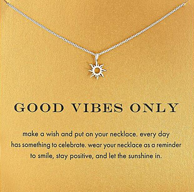 Good Vibes Only Inspirational Necklace With Message of Hope