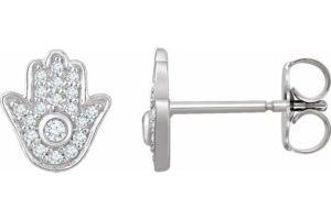 Hamsa Diamond Earrings for protection and luck