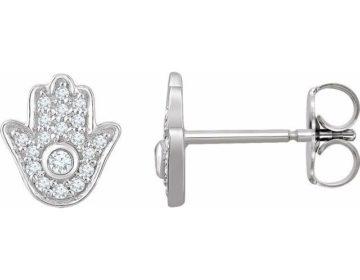 Diamond Pave Hamsa Earring