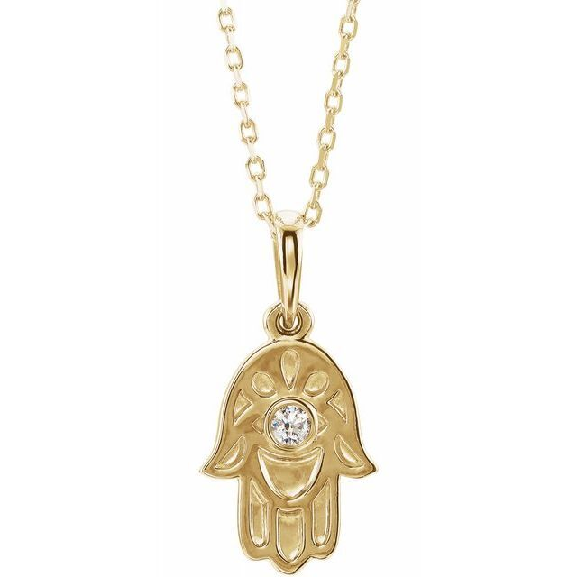 Hamsa Diamond Pendent Necklace