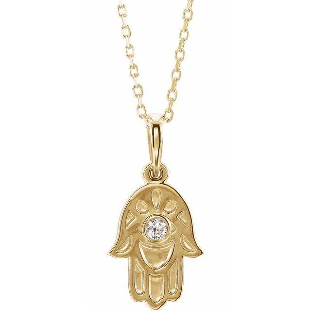 Hamsa Diamond Pendent Necklace