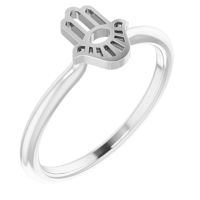 Hamsa Sterling Silver Ring Stackable