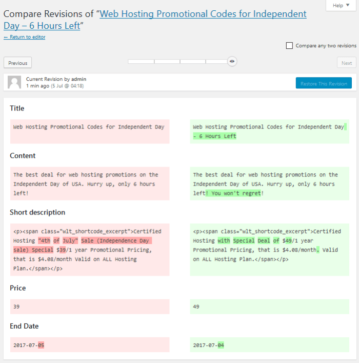 Compare custom fields on revision screen