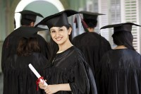 The picture shows an MBA graduate. The associated article discusses all there is to know about MBA: courses, jobs, specialisations, etc.
