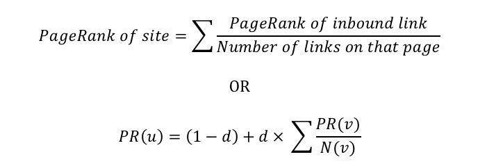 48/5000 Versión simplificada de la fórmula de PageRank