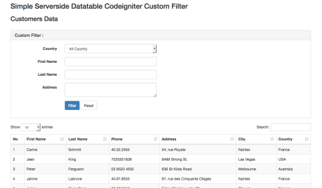 server-side datatables codeigniter custom filter