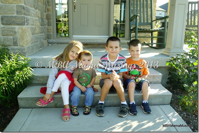 Four kids first day of school