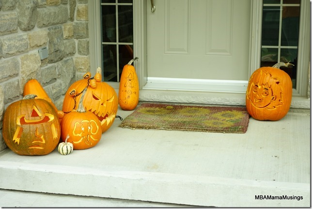 Carved Halloween Pumpkins on Front Step