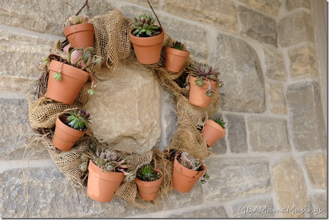 Succulent and Burlap Grapevine Wreath