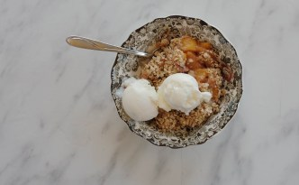 Maple Bacon Peach Crisp MBAMamaMusings