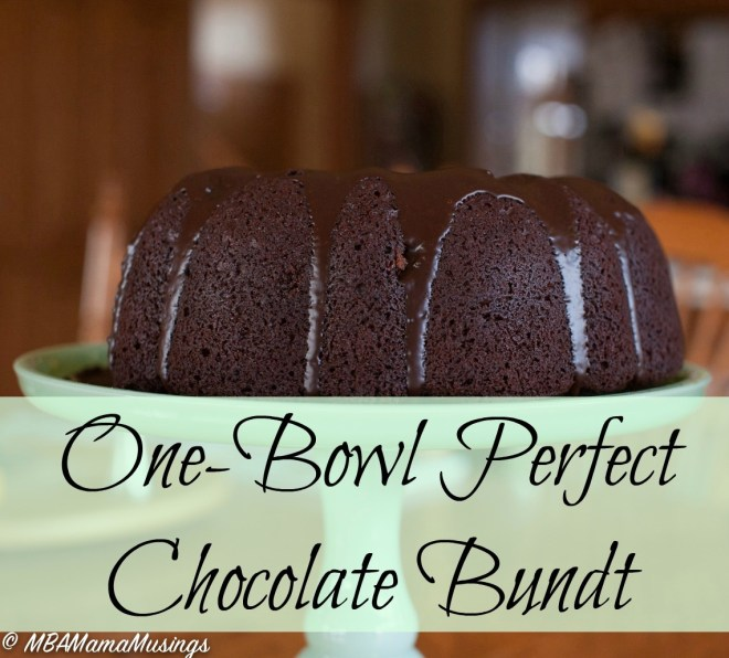 One-Bowl Perfect Chocolate Bundt Cake is ready for the oven with almost no dishes to wash up