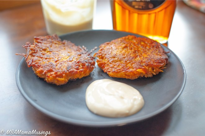 Sweet potato pancakes with maple sour cream dip