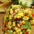 Новогодний салат из курицы в ананасе