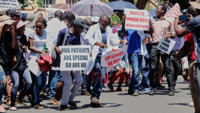 Doctors marching