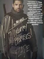 My autograph from Manu Bennett.