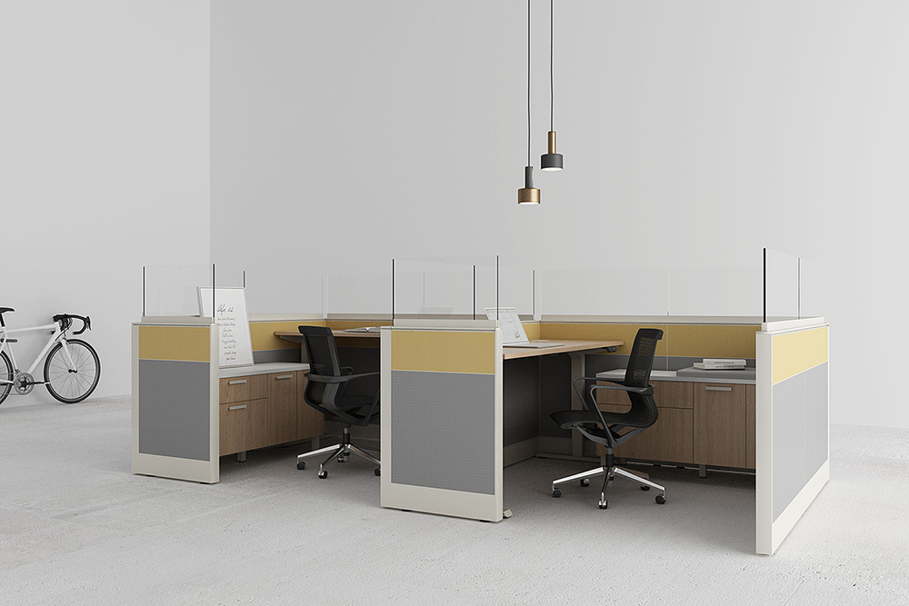 Office cubicles with protective screens