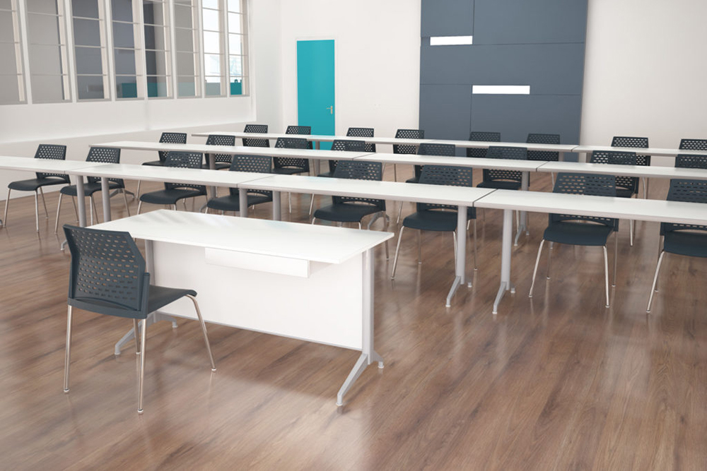 Classroom tables in white