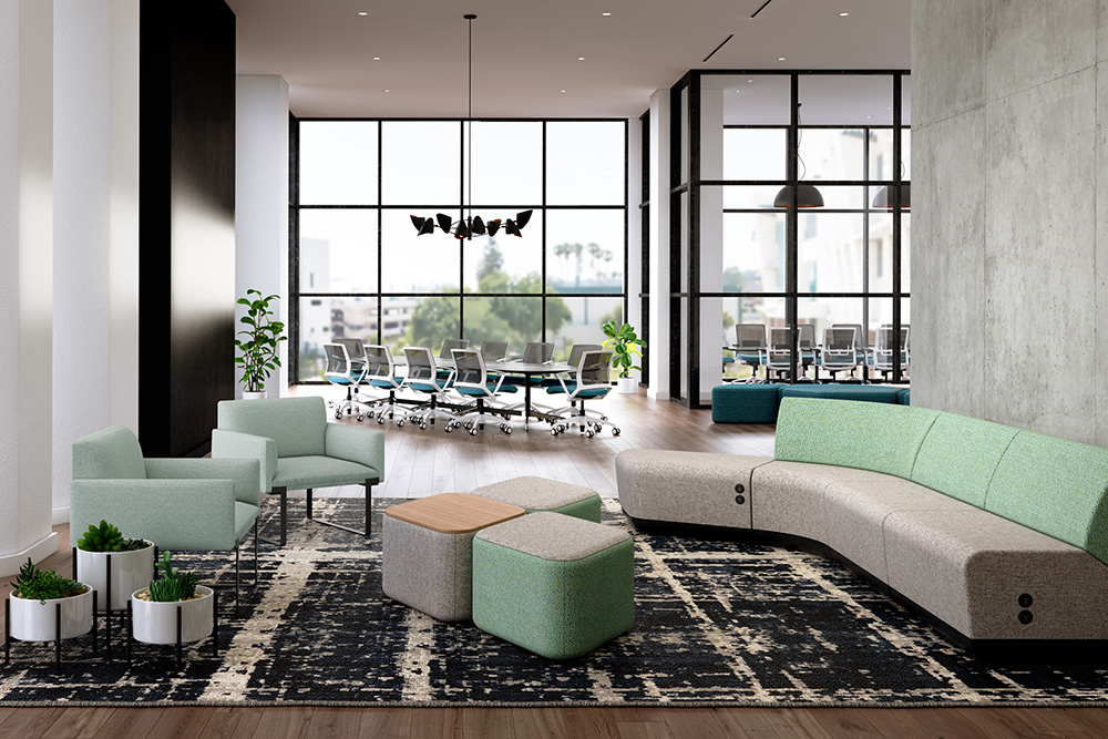 Green sectional seating