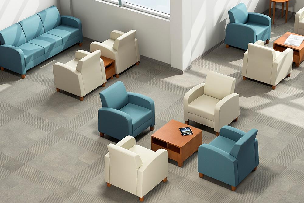 Blue lobby chairs
