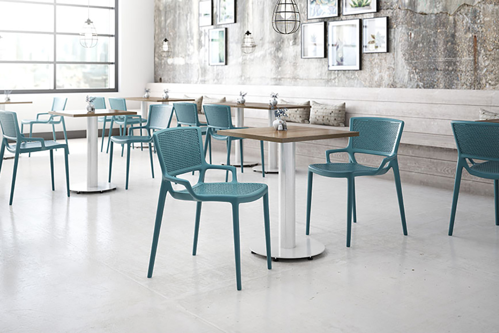 Green plastic cafe chair