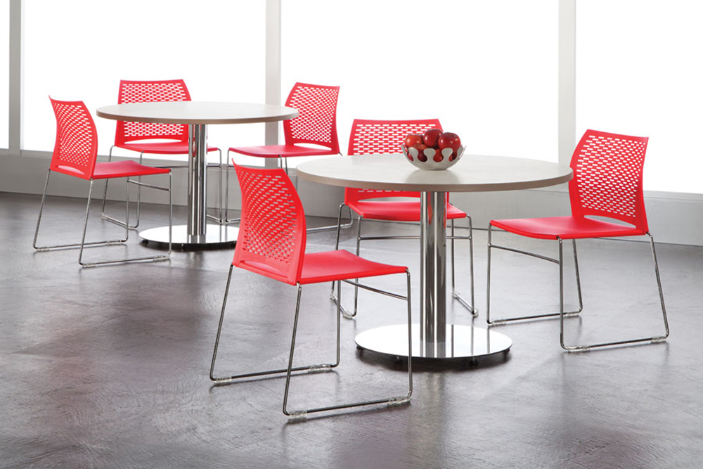 Red plastic cafe chairs