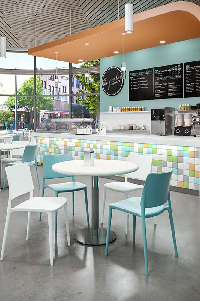 Plastic 4 leg cafe chair