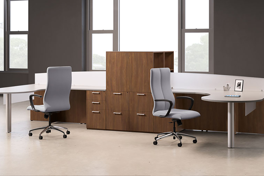 Two person workstation with metal base